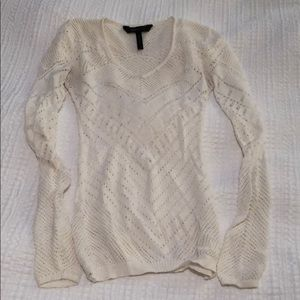 BCBG max azria netted/sheer long sleeve fitted top